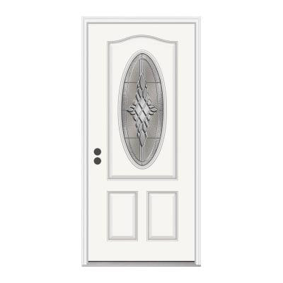 36 in. x 80 in. Hadley 3/4 Oval Lite Brilliant White Fiberglass Prehung Front Door