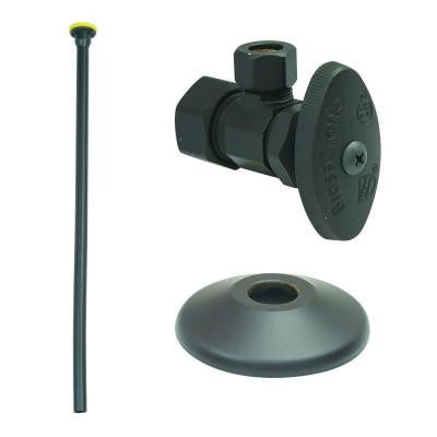 Faucet Kit: 1/2 in. Nom Comp x 3/8 in. O.D. Comp Multi-Turn Angle Valve with 12 in. Riser, Flange in Oil Rubbed Bronze