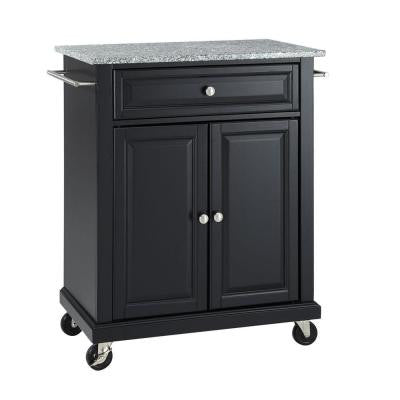 28-1/4 in. W Solid Granite Top Mobile Kitchen Island Cart in Black