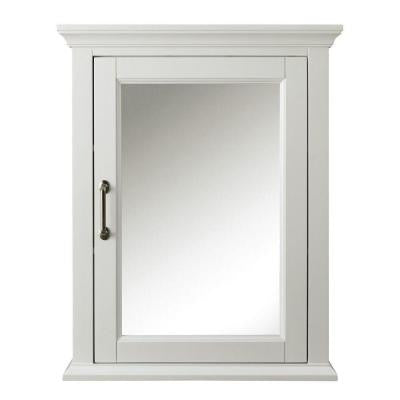 Charleston 24 in. W Mirrored Wall Cabinet in White