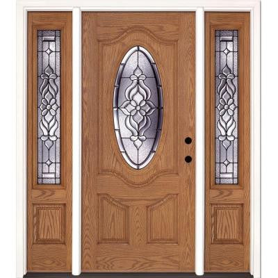 67.5 in. x 81.625 in. Lakewood Patina 3/4 Oval Lite Stained Light Oak Fiberglass Prehung Front Door with Sidelites