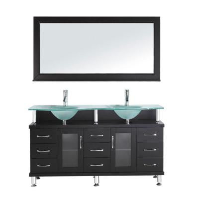 Vincente 59 in. Double Basin Vanity in Espresso with Glass Vanity Top in Frosted Glass and Mirror with Shelf