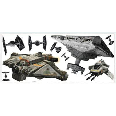 5 in. x 19 in. Star Wars Rebel and Imperial Ships 9-Piece Peel and Stick Giant Wall Decal