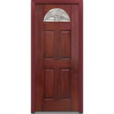 32 in. x 80 in. Master Nouveau Decorative Glass 1/4 Arch Lite 4-Panel Finished Mahogany Fiberglass Prehung Front Door