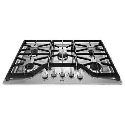 36 in. Gas Cooktop in Stainless Steel with 5 Burners including 18000-BTU Power Simmer Dual Stacked Burner