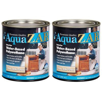345 1-qt. Semi-Gloss Aqua Water Based Polyurethane (2-Pack)