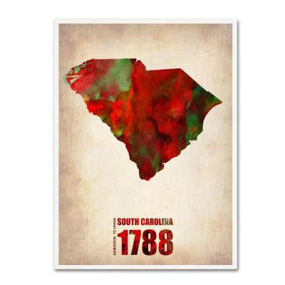 47 in. x 35 in. South Carolina Watercolor Map Canvas Art