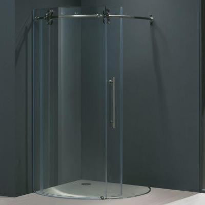 Sanibel 40.625 in. x 74.625 in. Frameless Bypass Shower Enclosure in Stainless Steel