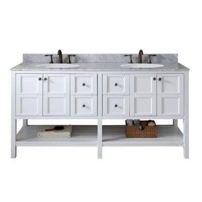 Winterfell 72 in. W x 22 in. D x 36 in. H Vanity in White with Marble Vanity Top in White and Round Basin