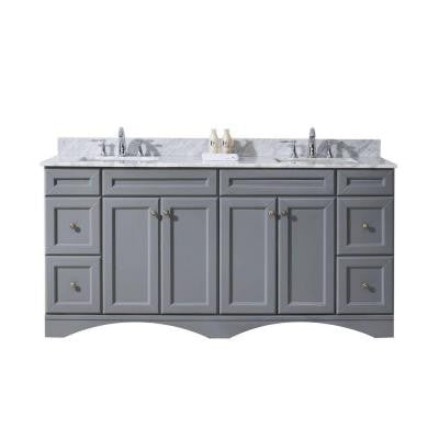 Talisa 71.7 in. W x 22 in. D x 36 in. H Vanity in Grey with Marble Vanity Top in White and Round Basin