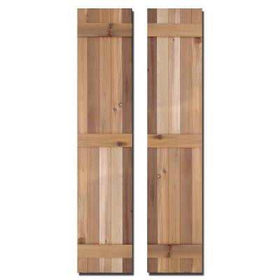 15 in. x 80 in. Natural Cedar Board-N-Batten Baton Shutters Pair
