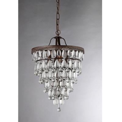 Martinee Crystal Inverted Pyramid 4-Light Antique Bronze Chandelier