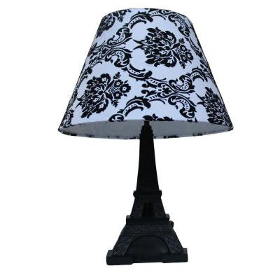 Paris 16 in. Black Eiffel Tower Table Lamp with Damask Printed Fabric Shade