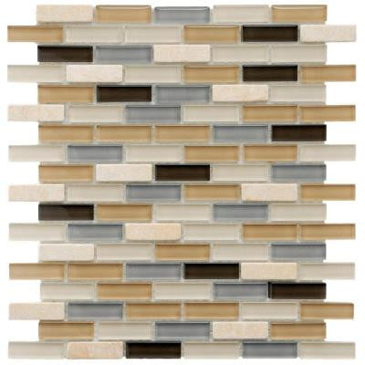Tessera Subway River 11-3/4 in. x 11-3/4 in. x 8 mm Glass and Stone Mosaic Wall Tile