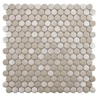 Meta Penny Round 11-3/4 in. x 11-3/4 in. x 8 mm Stainless Steel Over Porcelain Mosaic Wall Tile
