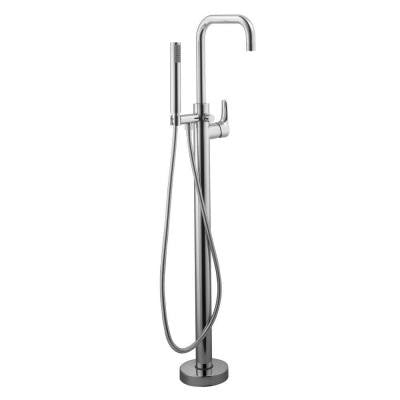 Modern Floor Mounted Tub Filler in Chrome