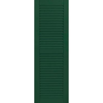 12 in. x 35 in. Exterior Composite Wood Louvered Shutters Pair Chrome Green
