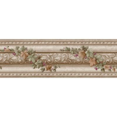 6 in. x 15 ft. Beige Architectural and Ivy Scroll Border