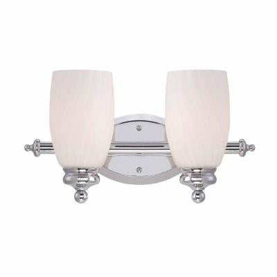 2-Light Chrome Bath Bar Light with Frosted White Glass