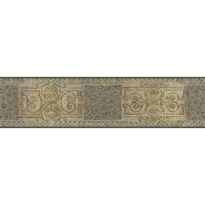 5.13 in. x 15 ft. Grey and Beige Scroll Tile Border