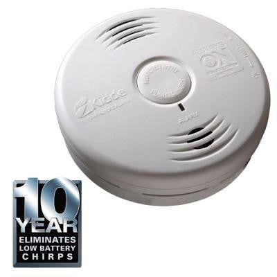 Worry Free 10-Year Bedroom Sealed Lithium-Ion Battery Operated Photoelectric Smoke Alarm with Voice Alert