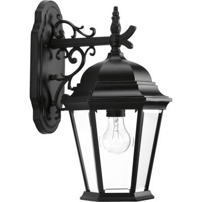 1-Light Textured Black Wall Lantern