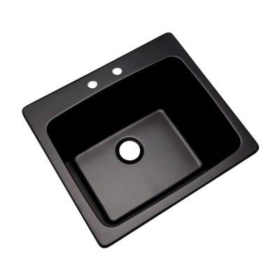 Wakefield Dual Mount Natural Stone Composite 25 in. 2-Hole Single Bowl Utility Sink in Black