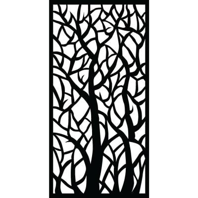 0.3 in. x 71 in. x 2.95 ft. Woodland Recycled Plastic Charcoal Decorative Screen
