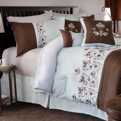 Hannah Brown Embroidered Queen Comforter Set (7-Piece)