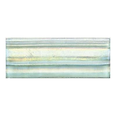 Cristallo Glass Aquamarine 3 in. x 8 in. Glass Chair Rail Accent Wall Tile