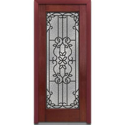 36 in. x 80 in. Mediterranean Decorative Glass Full Lite Finished Mahogany Fiberglass Prehung Front Door