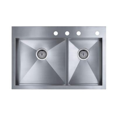 Vault Top-Mount/Undermount Stainless Steel 33 in. 4-Hole Double Bowl Kitchen Sink