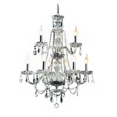 9-Light Crystal and Chrome Chandelier