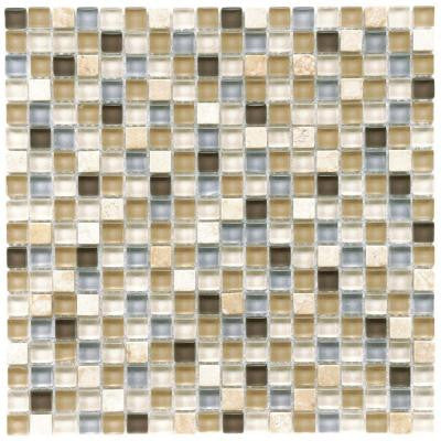 Tessera Mini River 11-3/4 in. x 11-3/4 in. x 8 mm Glass and Stone Mosaic Tile