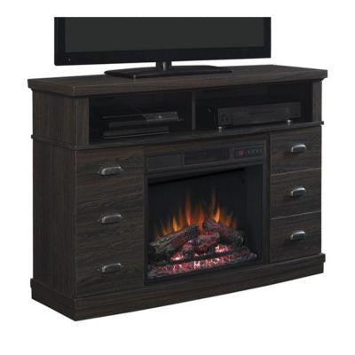 Canton Park 48 in. Corner Media Console Electric Fireplace in Black