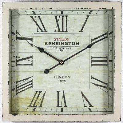 16 in. Square MDF Wall Clock in Distressed White Wooden Frame