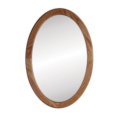 Dunhill 21 in. W x 31 in. H x 3.5 in. D Oval Recessed Mirrored Medicine Cabinet in Oak