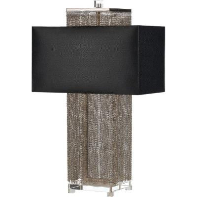 Candice Olson Collection, Casby 28.5 in. Silver/Nickel Table Lamp with Black Shade
