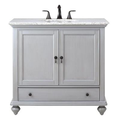 Newport 37 in. W x 21.5 in. D Single Vanity in Pewter with Granite Vanity Top in Grey with White Basin