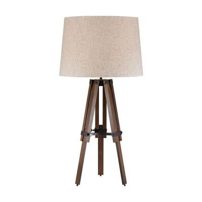 Orly 31 in. Walnut and Oil Rubbed Bronze Table Lamp with Shade
