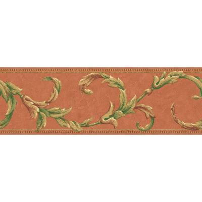 6.88 in. x 15 ft. Orange Leaf Scroll Border
