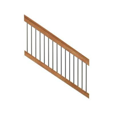 Pressure-Treated 6 ft. Cedar-Tone Stair Deck Railing Kit with Black Aluminum Balusters