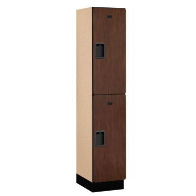 22000 Series 2-Tier Wood Extra Wide Designer Locker in Mahogany - 15 in. W x 76 in. H x 18 in. D