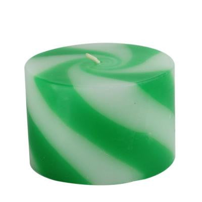 3 in. x 2 in. Green Candy Pillar Candle (24-Box)