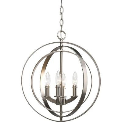 Equinox Collection 4-Light Burnished Silver Foyer Pendant
