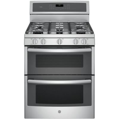 Profile 30 in. 6.8 cu. ft. Double Oven Gas Range with Self-Cleaning Convection Oven (Lower Oven) in Stainless Steel