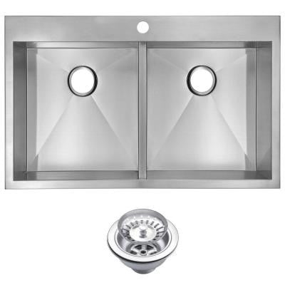 Top Mount Zero Radius Stainless Steel 33 in. 1-Hole Double Bowl Kitchen Sink with Strainer in Satin Finish