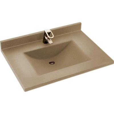 Contour 37 in. W x 22 in. D x 10-1/4 in. H Solid-Surface Vanity Top in Barley with Barley Basin