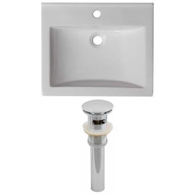 21 in. W x 18.5 in. D Ceramic Vanity Top Set with Basin in White and Drain