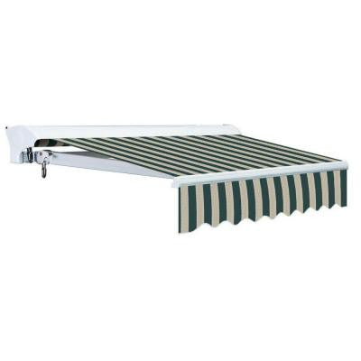 12 ft. Luxury L Series Semi-Cassette Electric w Remote Retractable Patio Awning (118 in. Projection) Green/Beige Stripes